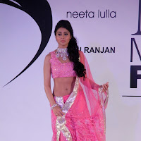 Shriya on the ramp in pink saree