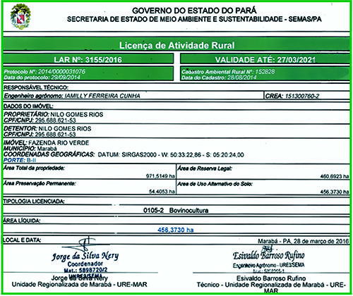 LICENÇA DE ATIVIDADE RUAL - FAZENDA RIO VERDE