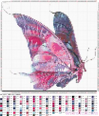 mariposa en colores rosados punto de cruz