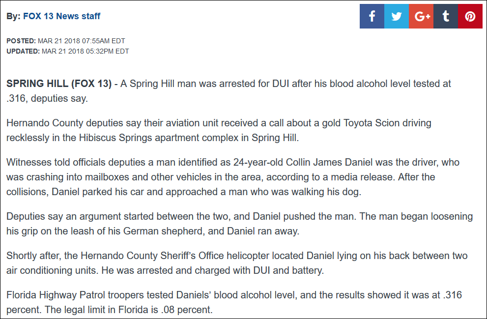 lift the veil from your eyes: 213 314 316 811 | Man arrested for DUI