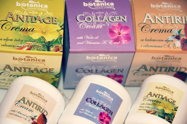 Botanica natural cosmetic face creams- antiage, antirid, collagen