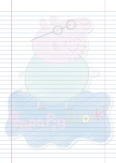 Folha Papel Pautado Papai Pig rabiscado PDF para imprimir na folha A4