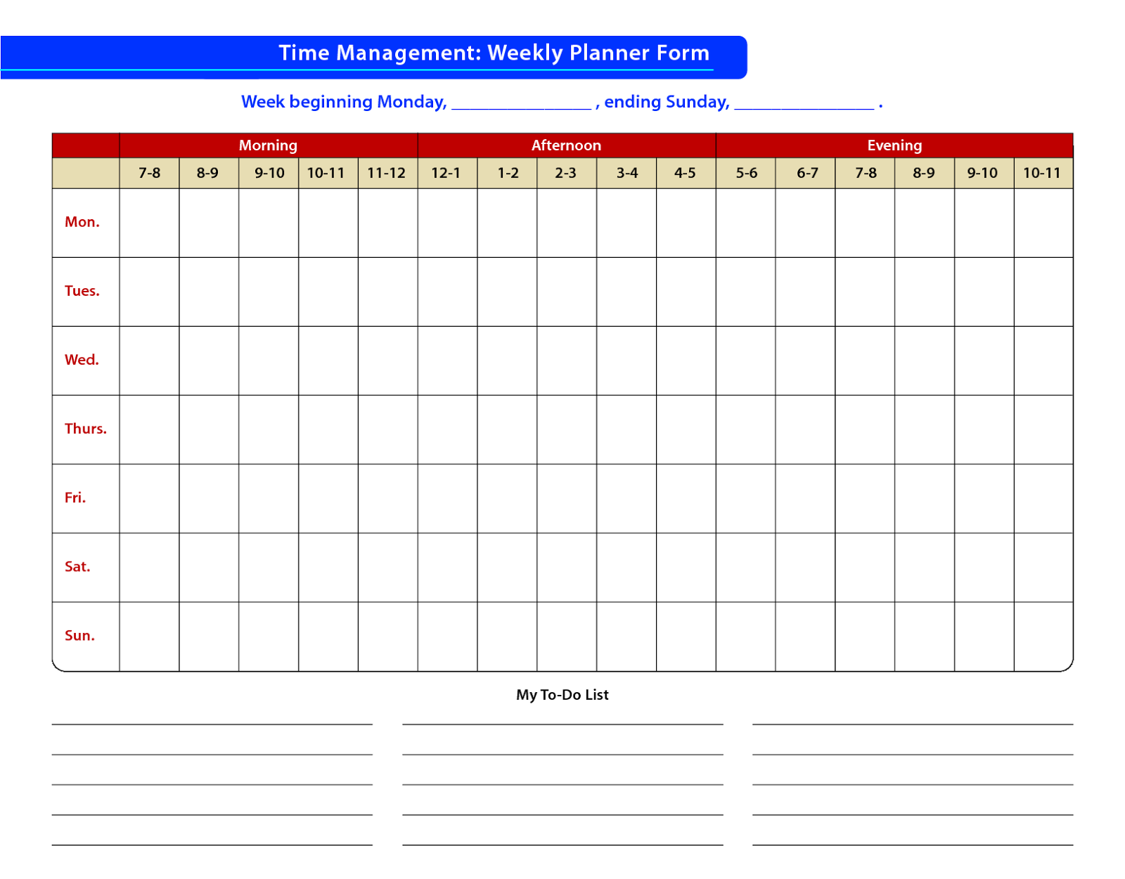 Time management sample of time for Time management daily planner templates
