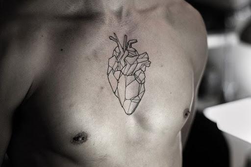 Geométricas, anatomicamente correto coração
