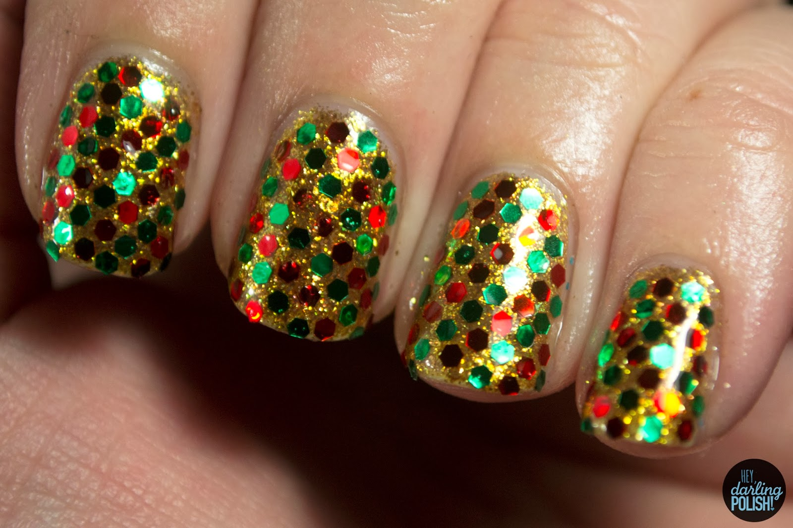 nails nail art nail polish glequins red green gold