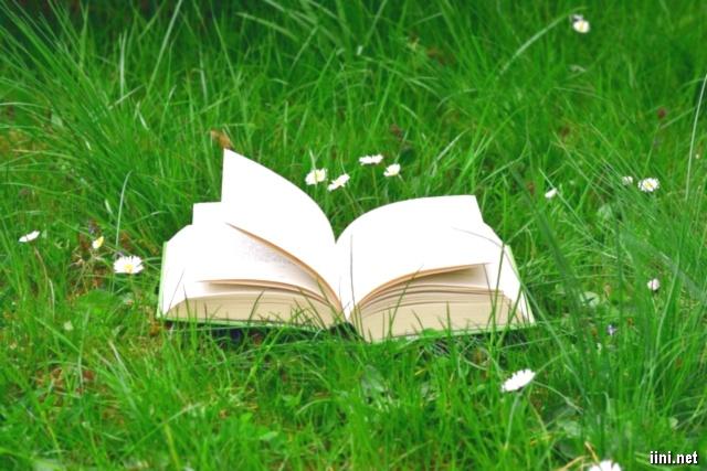 ảnh cuốn sách giữa vườn hoa cỏ