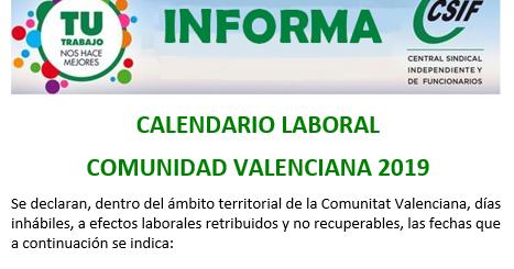 Calendario Laboral Comunidad Valenciana.Csif Torrevieja Salud Calendario Laboral Comunidad Valenciana 2019