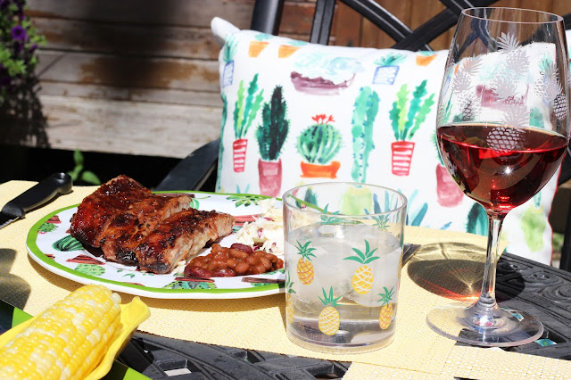 Home Sense, patio season, pineapples, succulents, wine, rose, ribs, dinner, bbq, patio