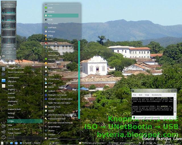 Tela do Knoppix 7.7.1 KDE rodando em Live USB 64bit, a partir da imagem ISO DVD original