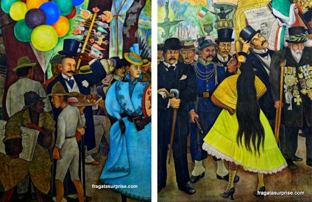 """Detalhes do mural de Diego Rivera """"Sonho de uma tarde dominical na Alameda Central"""", na Cidade do México"""