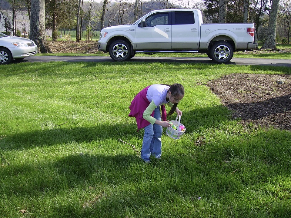 Score! Easter Egg Hunt in progress. #EasterTraditions #CatholicCentral #ad