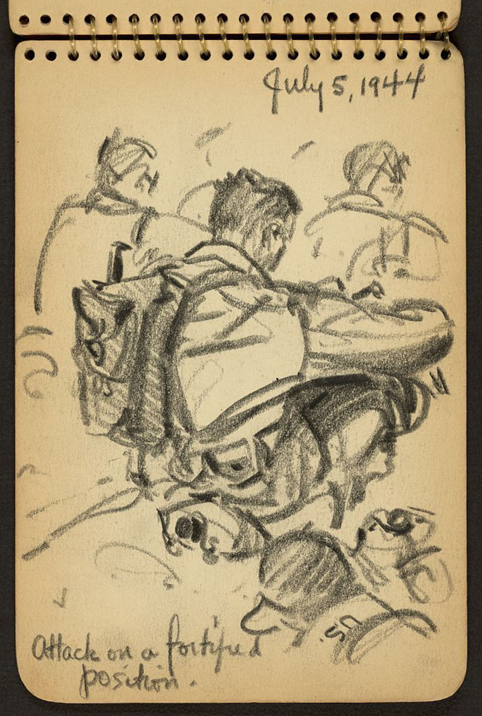 21-Year-Old WWII Soldier's Sketchbooks Show War Through The Eyes Of An Architect - Attack On A Fortified Position