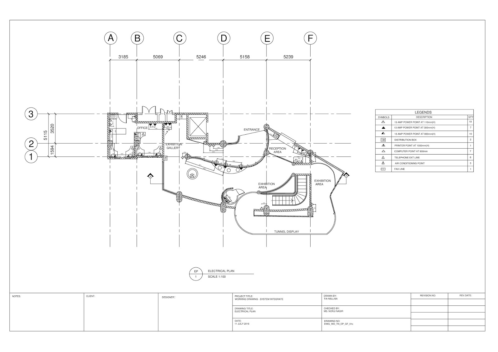 Bachelor of interior architecture project 3 working for Electrical plan drawing