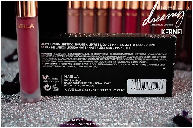 Kernel Dreamy Matte Liquid Lipstick rossetto liquido nabla cosmetics inci