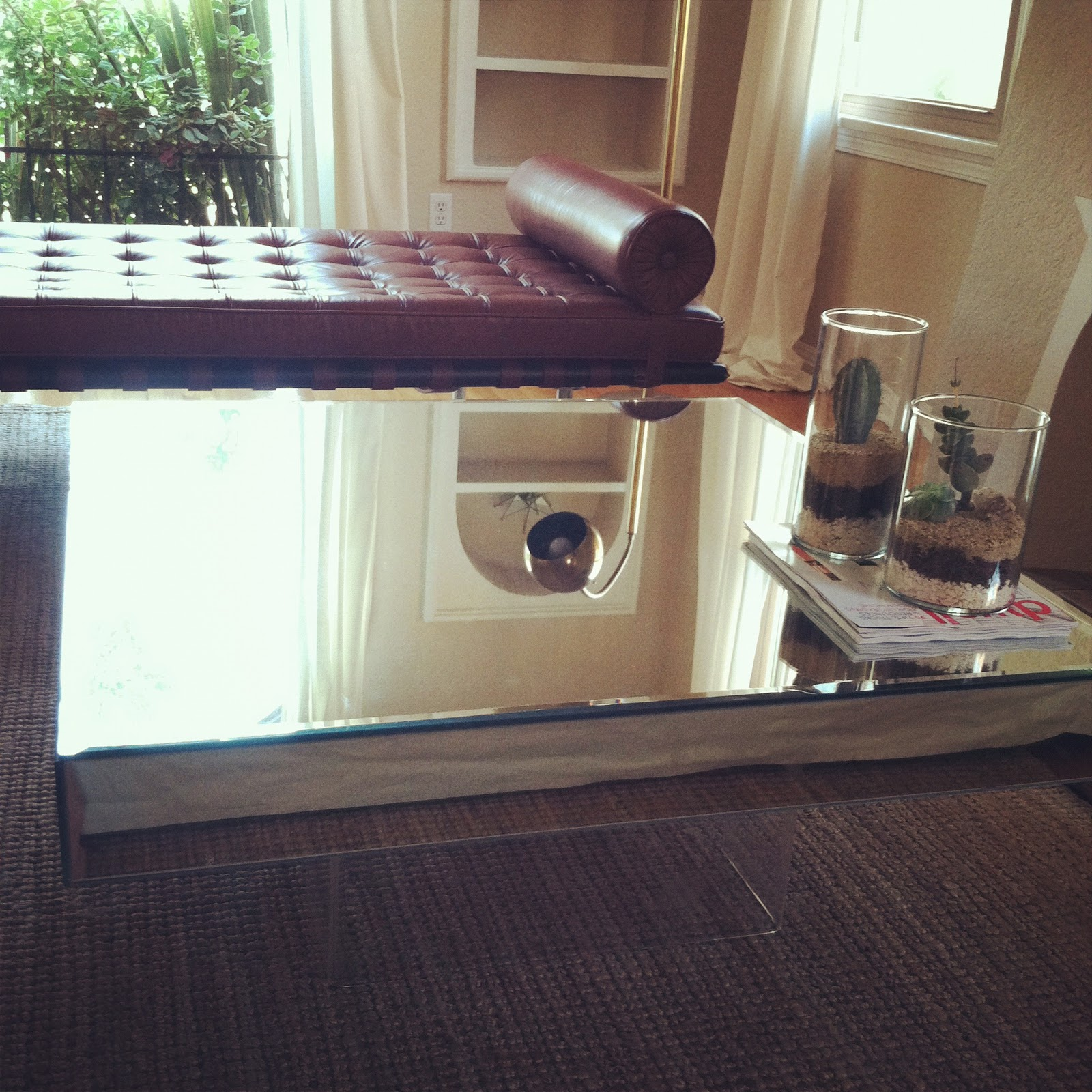 The Treehouse 1 20 12 Large Square Mirrored Coffee Table With Lucite Base