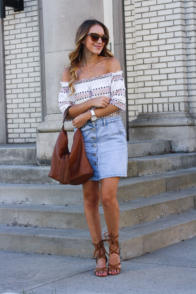 bb6b44d53a3be Denim Skirt and an Off the Shoulder Top - Twenties Girl Style
