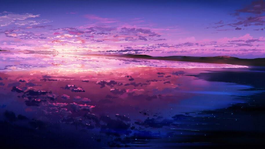 Sunset, Beach, Sea, Beautiful, Scenery, Landscape, Art, 4K, #6.440