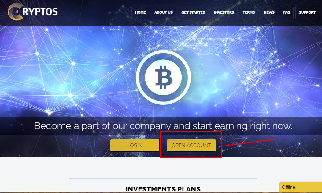 Регистрация в Cryptos