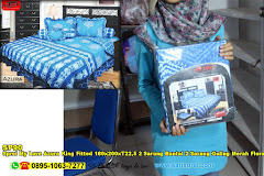 Sprei My Love Azura King Fitted 180x200xT22,5 2 Sarung Bantal 2 Sarung Guling Merah Floral Ornamen Batik Dewasa