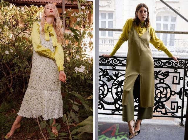 Платье-комбинация в цветочек с желтой блузкой
