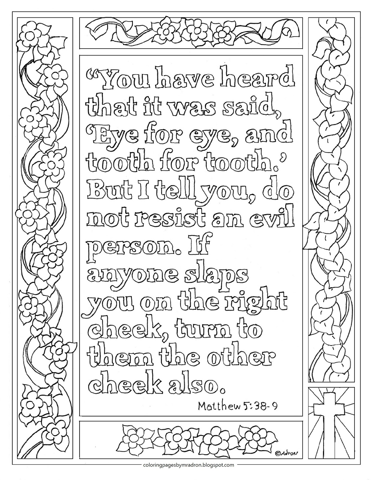 Matthew 538 39 Print And Color Page Turn The Other Cheek Bible Verse