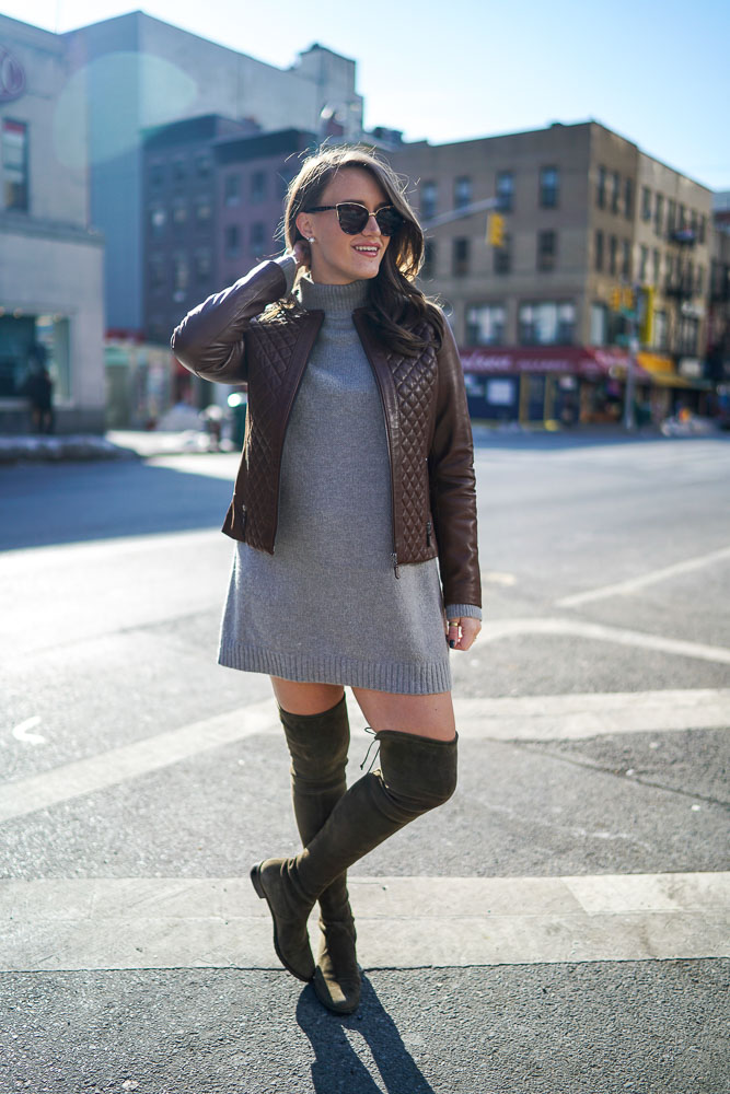 Krista Robertson, Covering the Bases,Travel Blog, NYC Blog, Preppy Blog, Style, Fashion Blog, Travel, Fashion, Style, NYC, Winter to Spring Looks, Leather Jacket Looks, Knee High Boots, Sweater Dresses, Stuart Weitzman Boots