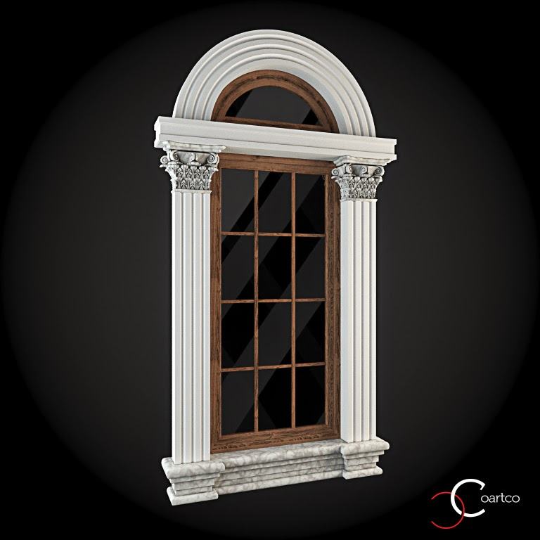 Ornamente Geamuri Exterior, Arcada si Pilastrii fatade case cu profile decorative polistiren, profile fatada,  Model Cod: WIN-029