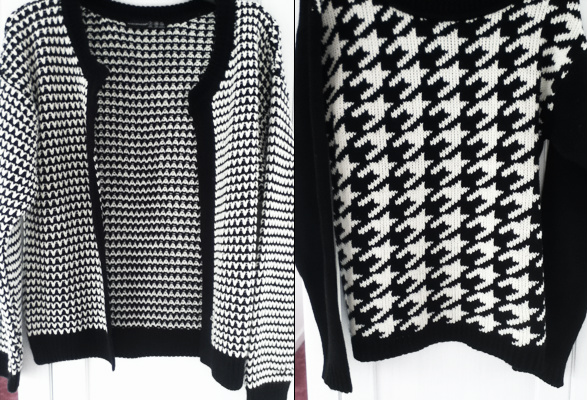 Houndstooth printed cardigan and jumper from Primark