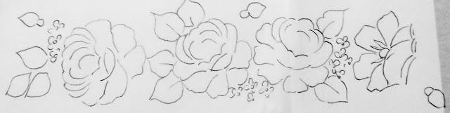 risco barrado de rosas pintura em tecido