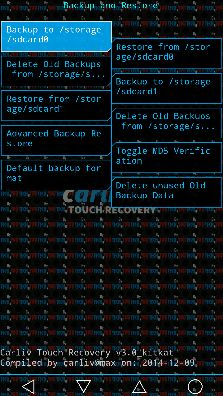 Updated Recovery[CTR 3.0] for MyPhone Agua Rio V2 Kitkat Screenshot 1
