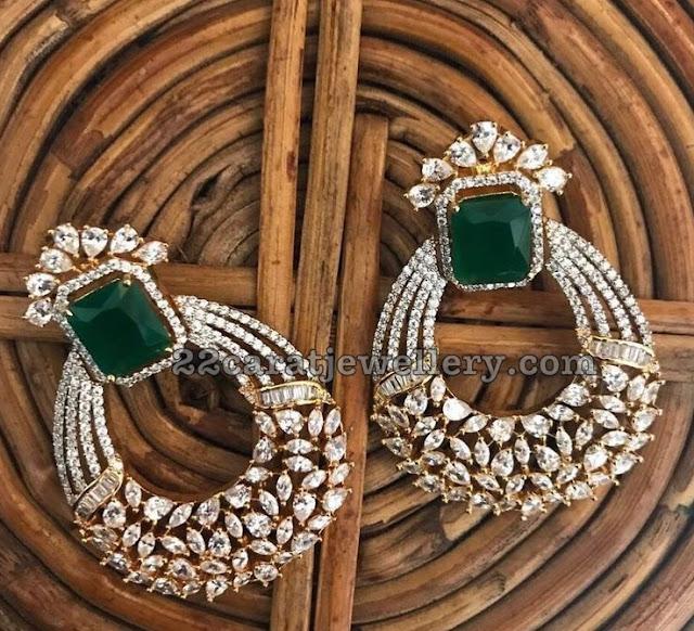 Peacock Diamond Pendant and Chandbalis