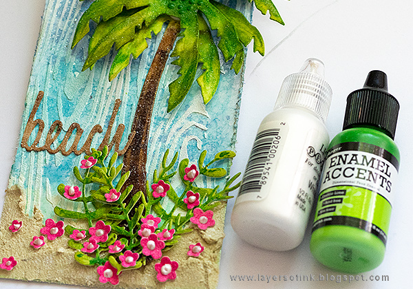 Layers of ink - Sparkly Tropical Beach Tutorial by Anna-Karin Evaldsson
