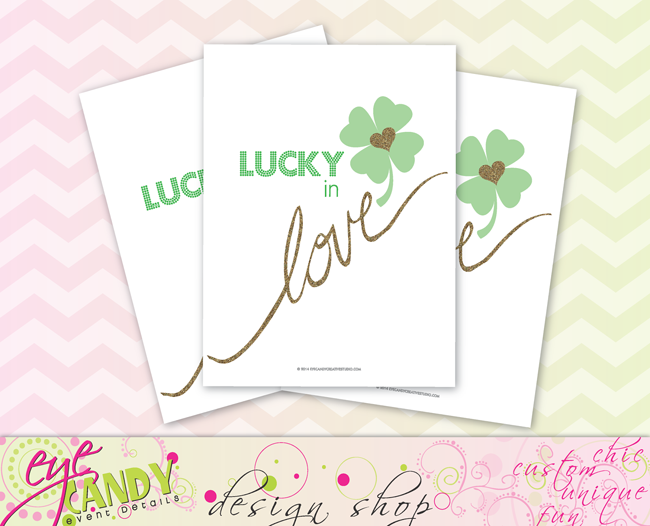 lucky in love art print, st pattys day art, st patrick's day artwork