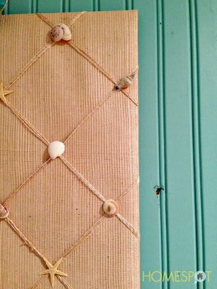 burlap seashell memo board