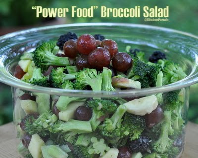 Power Food Broccoli Salad ♥ KitchenParade.com, broccoli, apple, grapes, other fruit. No mayo! Low Carb. WW2.