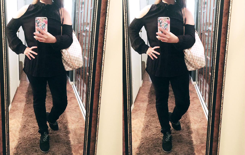 black oxford shoes, louis vuitton neverfull mm