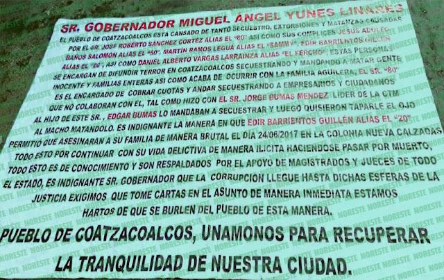 Cuelgan narcomantas dirigidas directamente al Gobernador Miguel Angel Yunes Linares