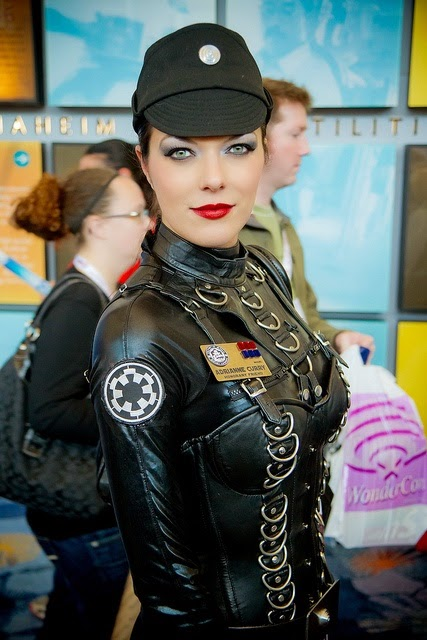 adrienne curry doing star wars cosplay as an imperial officer in a