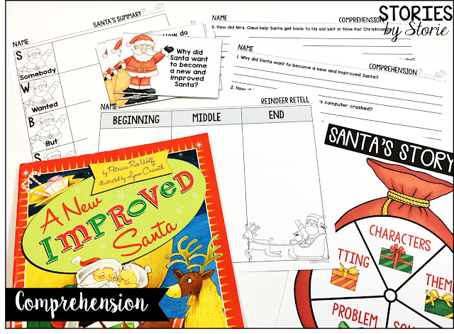 These graphic organizers for A New Improved Santa can be used before, during, and after reading the story. Students love to spin Santa's Story Sack to help identify story elements.