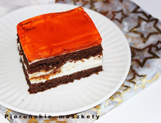 ciasto czekoladowe z pomarańczową pianką i galaretką