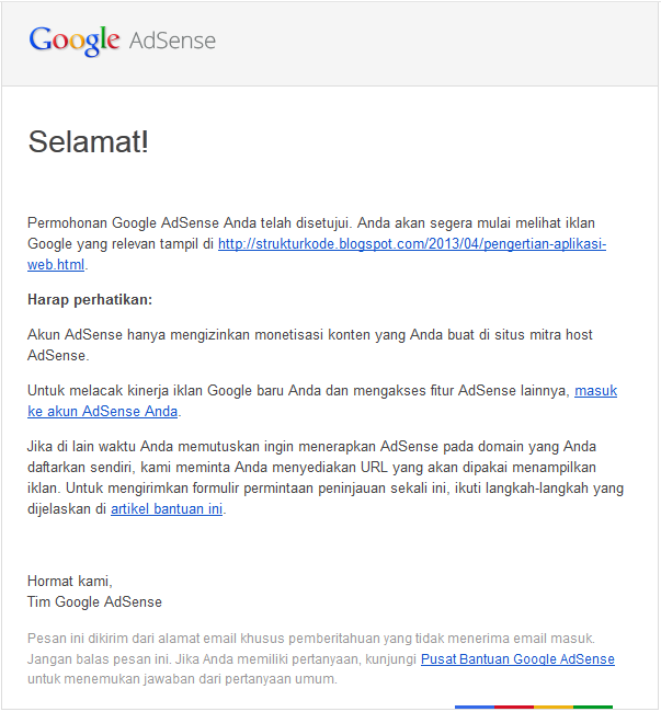Permohonan google AdSense telah diterima