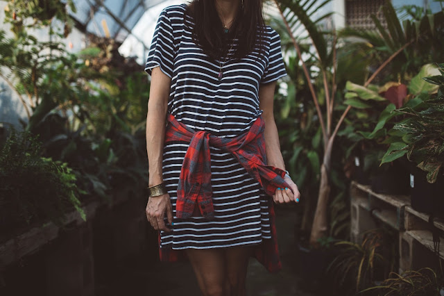 striped tee dress | Almost Posh
