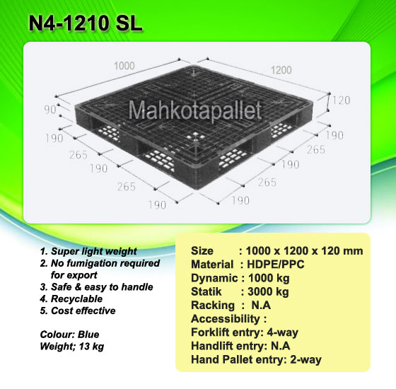 Jual Pallet Plastik One Way Series N4-1210SL