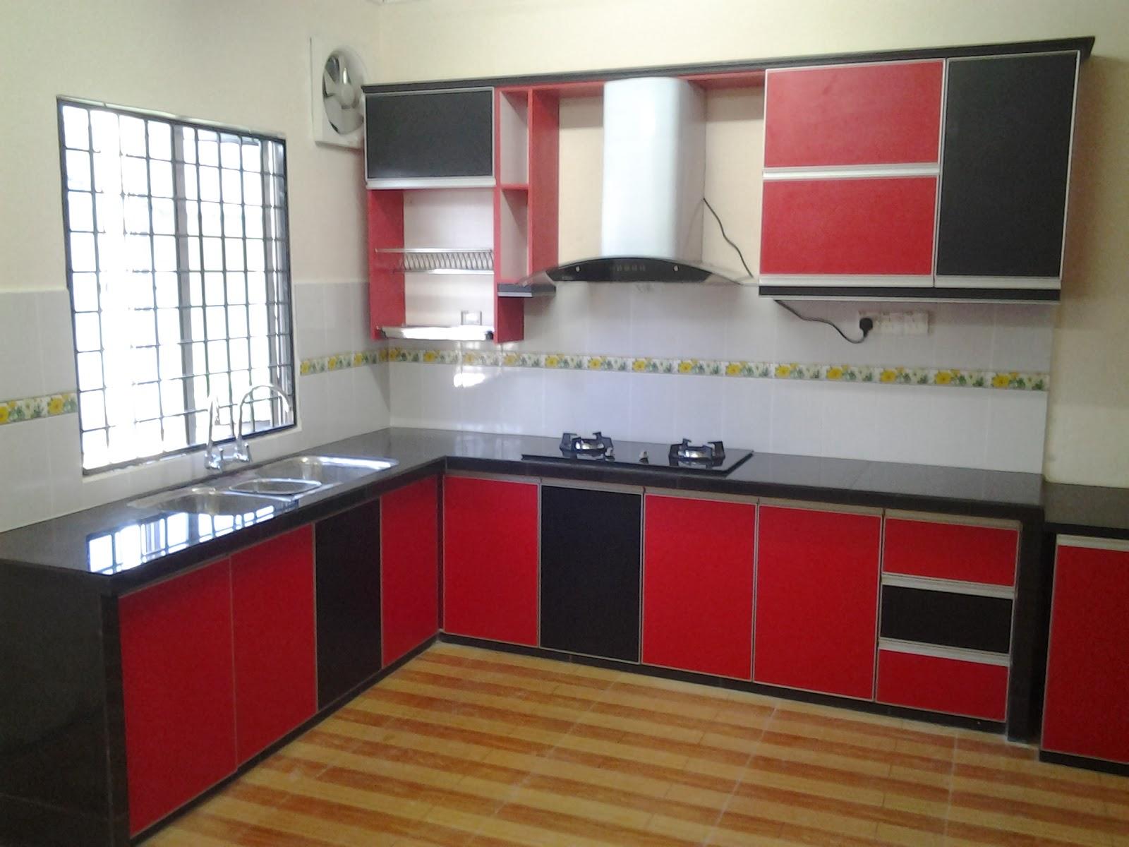 Taman Bukit Chedang Kabinet Dapur Pamprey Cabinets Desain Merah Hitam Interior Rumah