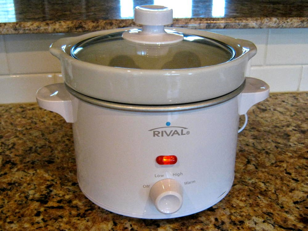 Use a small or medium-sized slow cooker or double the recipe and use a bigger one.