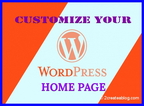 Customize your WordPress Website Home Page