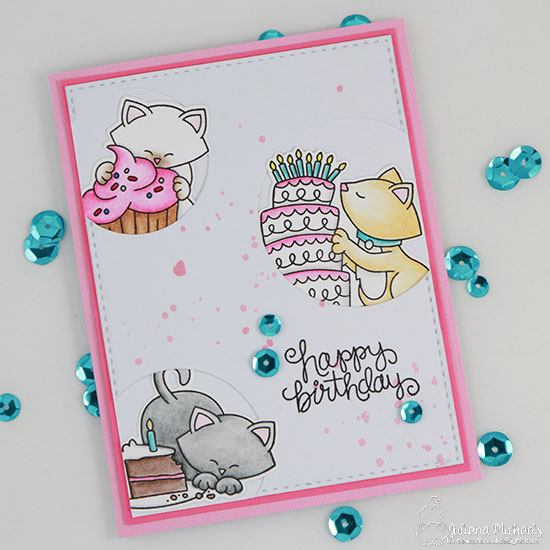 Cat and Cake Birthday cards by Juliana Michaels | Newton Loves Cake Stamp Set by Newton's Nook Designs