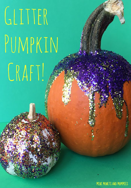 Glitter pumpkins with purple and gold glitter dripping down on the right and the left is a white pumpkin coated in rainbow glitter.