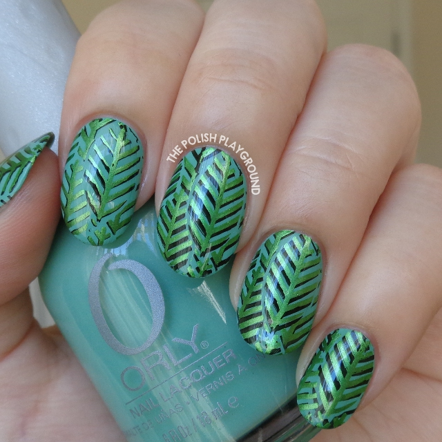 Layered Green Leaves Stamping Nail Art