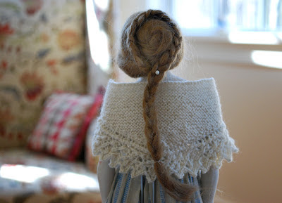 tiny wool shawl with lace edge
